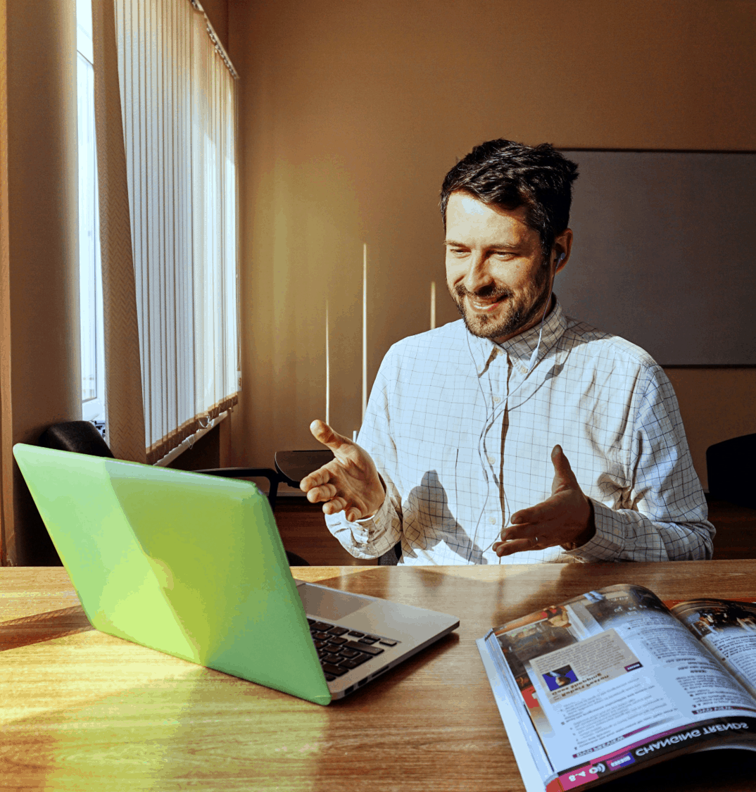 Man working from home who has digitized his business